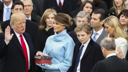 """Donald J Trump sworn in as President of America, says """"America First"""""""