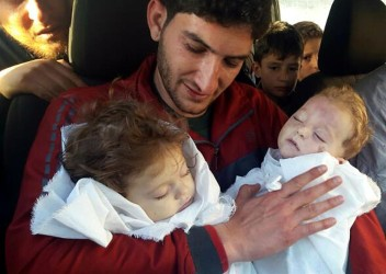 Man buries his twin children and wife died in Syria gas attack